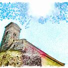 Pieve di Tho: church apse with bell tower and sun by Giuseppe Cocco