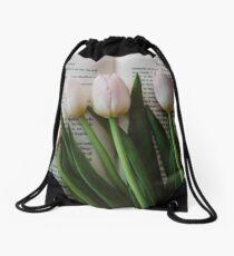 Tulips and Literature Drawstring Bag
