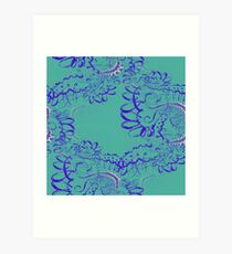 RETRO-Aqua Lace Seamless Fractal Pattern Art Print