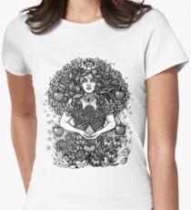 Divine Mother Gea Tree / BW Women's Fitted T-Shirt