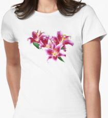 Stargazer Lily Heart Womens Fitted T-Shirt