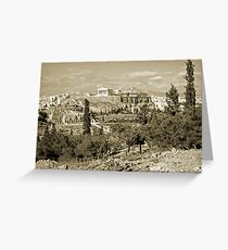 Athenian Acropolis from Philopappou Hill, 1960, Gold-toned Greeting Card