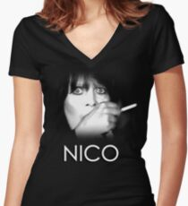 Nico: Middle-Aged Junkie Women's Fitted V-Neck T-Shirt