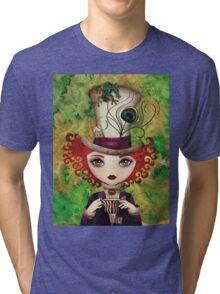 Lady Hatter (w/background) Tri-blend T-Shirt