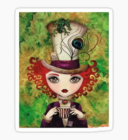 Lady Hatter (w/background) Sticker