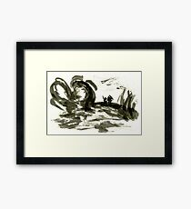 Sumi-E Painting - The Gnarled Roots Framed Print