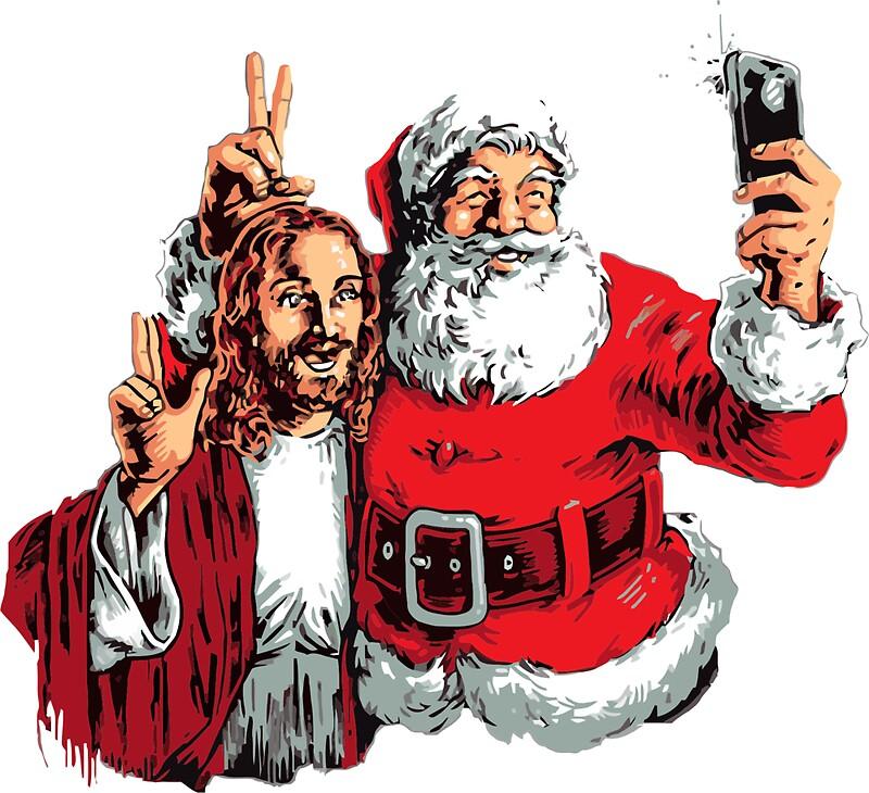 jesus santa selfie by nayaka - Santa And Jesus