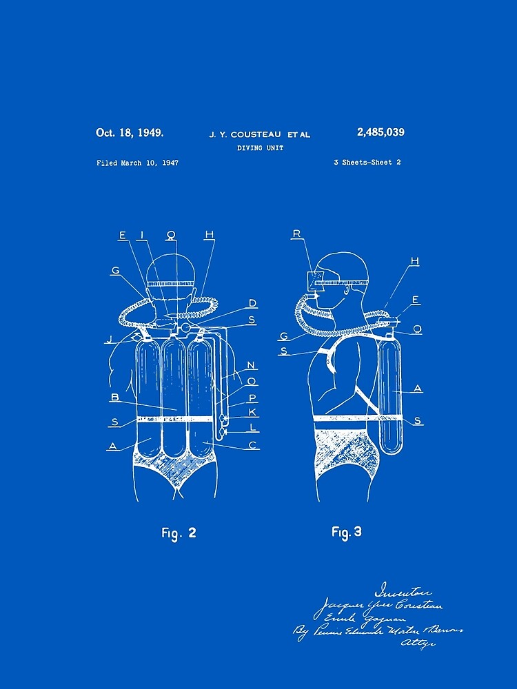 Jacques cousteau diving gear patent blueprint graphic t shirt by jacques cousteau diving gear patent blueprint by finlaymcnevin malvernweather Image collections