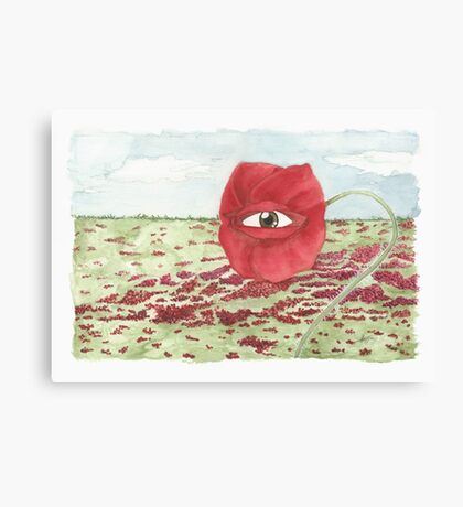 In a field of blind poppies, one eye is king Canvas Print