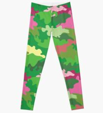 Vector illustration of green water camouflage seamless pattern. Pink romantic accent Leggings