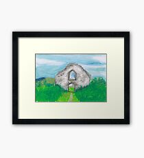 Hen Eglwys, Chapel on the Hill - Pastel Drawing Framed Print