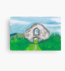 Hen Eglwys, Chapel on the Hill - Pastel Drawing Canvas Print