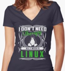 I Don't Need Therapy All I Need Is Linux T-Shirt Women's Fitted V-Neck T-Shirt