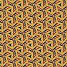 Triangulated | Gold Red & Blue pattern by webgrrl