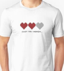 8bit Hearts - Just try again T-Shirt