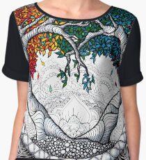 Rainbow Heart tree mandala Chiffon Top