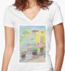 Spirited Away Background Design Women's Fitted V-Neck T-Shirt