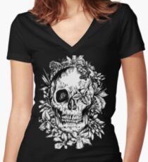 floral skull 1 Women's Fitted V-Neck T-Shirt