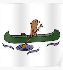 Funny Funky Cool Sea Otter Canoeing Poster