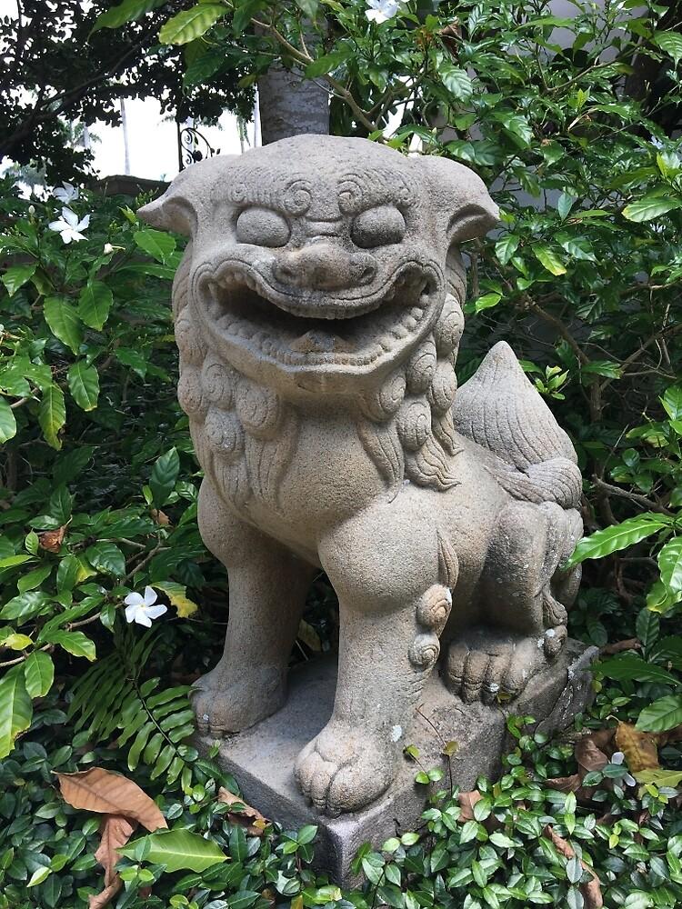 STATUE LION JAPONAISE DE JARDIN » Par JanetKnapp