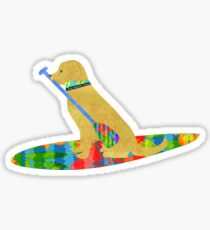 Pegatina Stand Up Paddle Board Preppy Yellow Lab