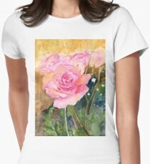 Rose Garden Impressionist Womens Fitted T-Shirt