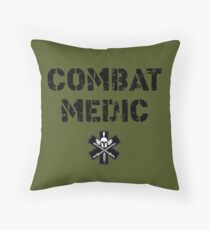 Combat Medic in olive drab Throw Pillow
