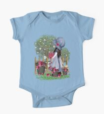 Cute girl with roses One Piece - Short Sleeve