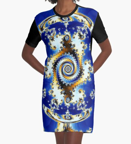Blue Crystal Ball  Graphic T-Shirt Dress