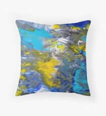 Blue, Grey, White, and Yellow Abstract Throw Pillow