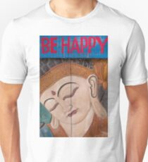 Buddha carved in wood with the words be happy T-Shirt