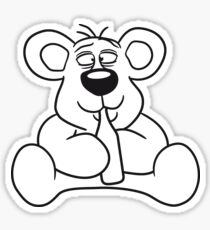 drunk thirsty cola drink alcohol party bottle beer drinking sweet little cute polar teddy bear sitting funny dick Sticker