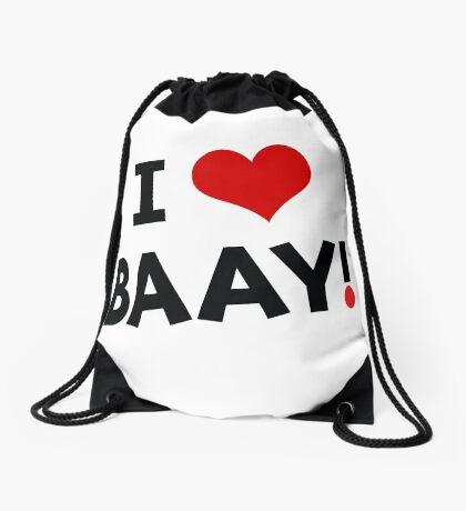 I LOVE BAAY (Black) Drawstring Bag