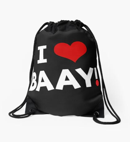 I LOVE BAAY (White) Drawstring Bag
