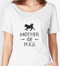 Camiseta ancha para mujer Madre de Pugs - Negro
