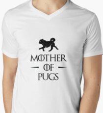 Camiseta para hombre de cuello en v Madre de Pugs - Negro