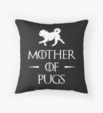 Mother of Pugs - White Throw Pillow