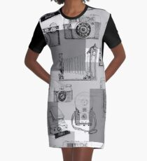 Vintage Camera Collection Graphic T-Shirt Dress