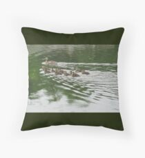 Eleven Duckling's in the Rain Throw Pillow