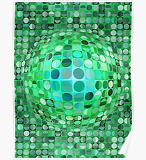 Optical Illusion Sphere - Green Poster