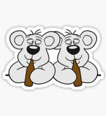 2 team crew buddies table wall shield drunk thirsty cola drink alcohol party bottle beer drinking polar teddy bear funny Sticker