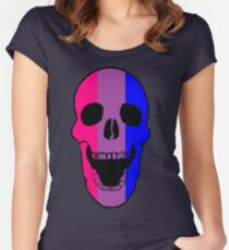 Bi Pride Flag Skull Fitted Scoop T-Shirt