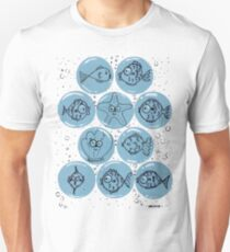 Cute Sea Animals and Funny Fish Floating in Bubbles Unisex T-Shirt