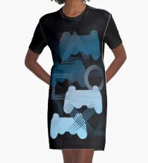 PS3 Gaming blue Graphic T-Shirt Dress