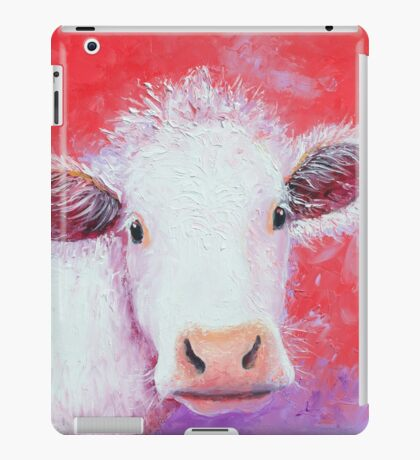 White Cow painting on red background iPad Case/Skin