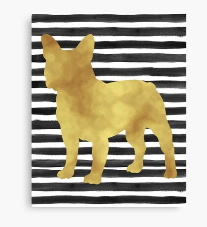 French bulldog stripes and gold Canvas Print