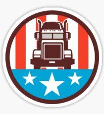 Truck USA Flag Circle Retro Sticker
