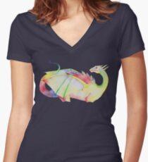 Rainbow dragon design Women's Fitted V-Neck T-Shirt