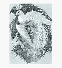 Fairy lady with white peacock and raven. Photographic Print