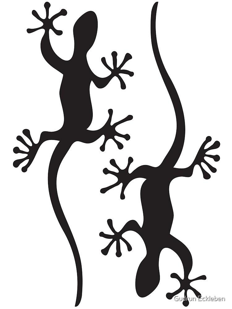 Two black geckos by Gudrun Eckleben